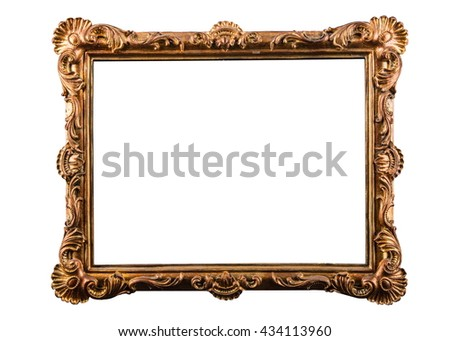 Handcrafted vintage picture frame isolated over white background - stock photo
