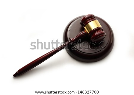 Handcrafted wooden gavel and block  - stock photo