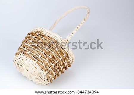 handcrafted woven wicker baskets - stock photo