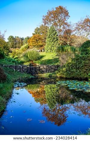 HANDCROSS, SUSSEX/UK - OCTOBER 27 : The gardens at High Beeches in Handcross Sussex on October 27, 2014 - stock photo
