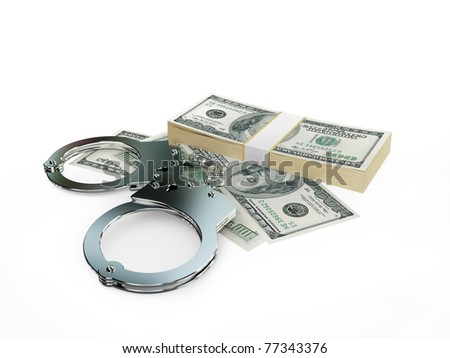 Handcuff and dollars pack isolated on white background. 3d rendered. - stock photo