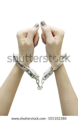 Handcuffed isolated on white background - stock photo