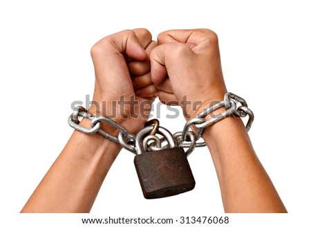 Handcuffed woman's hands - stock photo