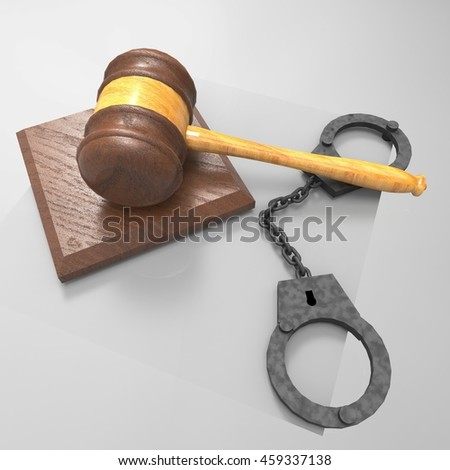 handcuffs and gavel 3d illustration - stock photo