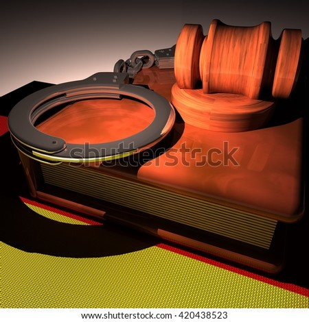 Handcuffs, gavel and book over Germany flag, 3d rendering