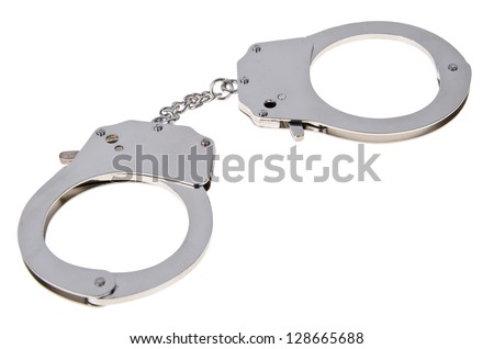 Handcuffs isolated on white background. - stock photo
