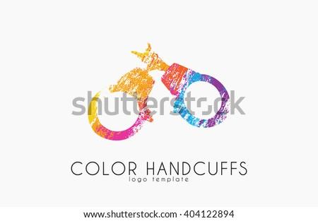 Handcuffs logo design. Color handcuffs design. Creative logo - stock photo