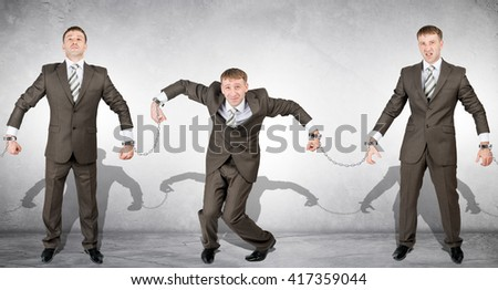 Handcuffs, white collar crime, arrest of people - stock photo