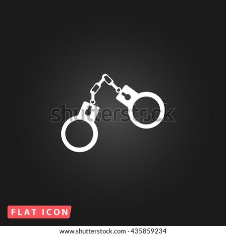 Handcuffs White flat icon on dark background. Simple illustration pictogram - stock photo