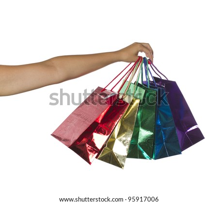 Handful of Bags isolated over white