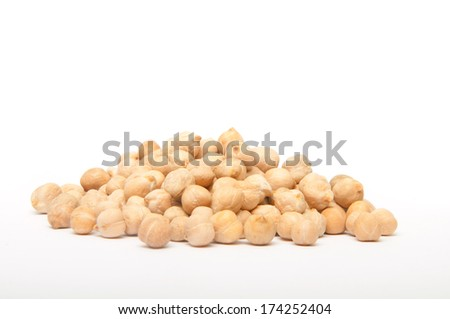 Handful of chickpeas isolated on white background
