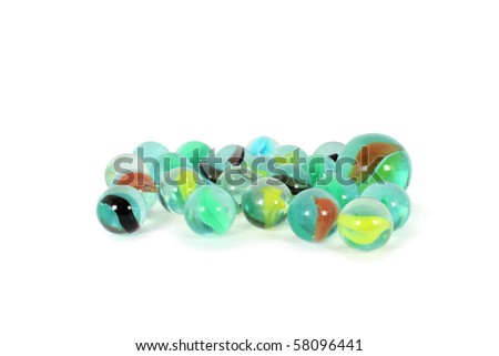 Handful of colorful marbles isolated on white - stock photo