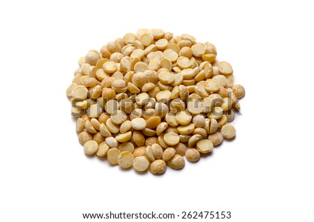 Handful of dried yellow pea seeds isolated on white background