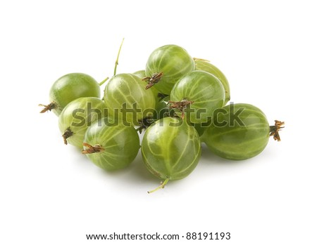 Handful of green gooseberries on the white background