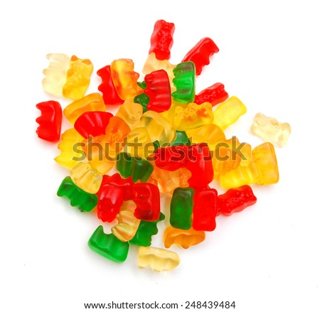 handful of jelly bears  - stock photo
