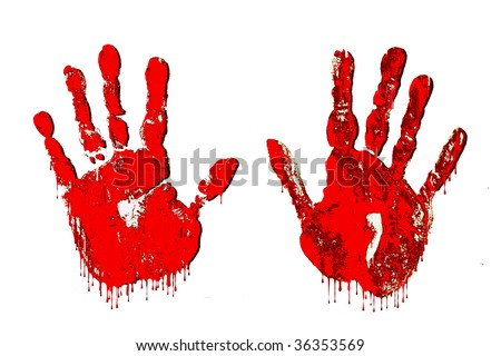 Handfuls of Horror! - Bloody dripping hand prints for horror effect at Halloween on white background.