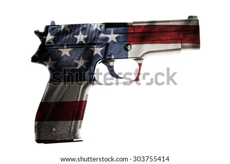 Handgun and American flag composite - stock photo