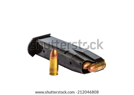 handgun bullets magazine on white background - stock photo