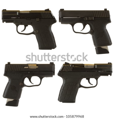 Handguns isolated on white background depicting a black 9mm kel-Tec PF-9 pistol and a Kahr Arms PM9 9mm pistol.