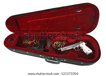 handguns with cartridges in violin case