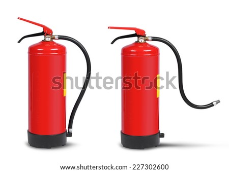 Handheld fire extinguisher ready-set isolated on white - stock photo