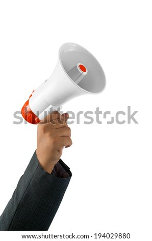 Handheld Megaphone Isolated on white background with clipping path. - stock photo