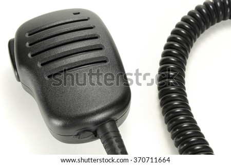 Handheld microphone for walkie-talkie isolated on a white background - stock photo