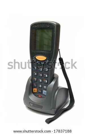Handheld Mobile Computer in dock station - stock photo