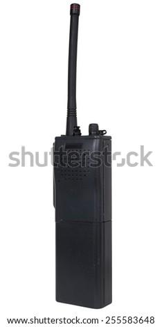 Handheld radio for emergencies isolated on white - stock photo