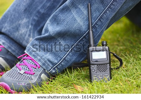 Handheld  walkie talkie  system for outdoor sports and security - stock photo
