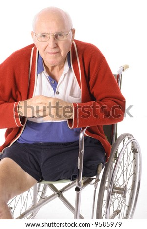 handicap man in wheelchair isolated on white - stock photo