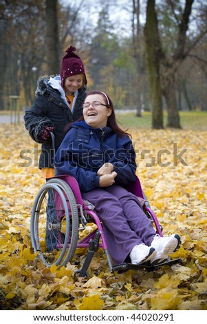 Handicapped girls in park