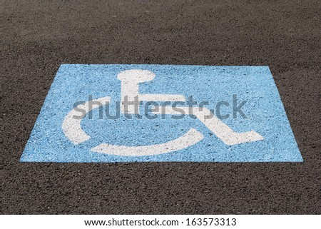 Handicapped Parking Space at Business Location Closeup