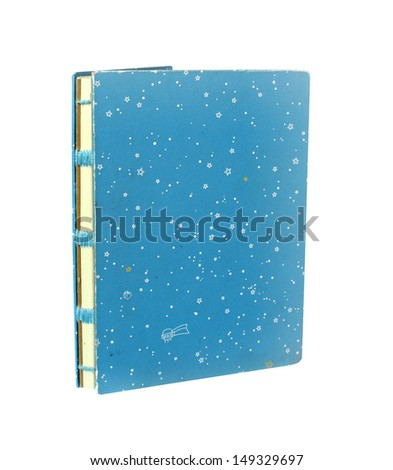 Handicraft blue retro notebook isolated with clipping path