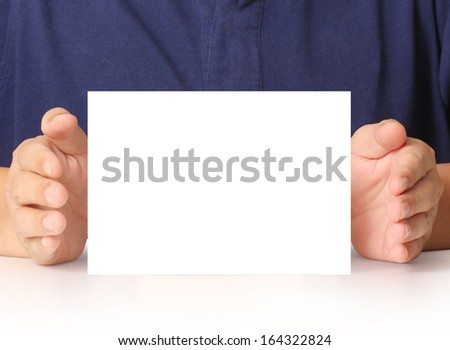 handing a blank business a4 card over in hand  - stock photo