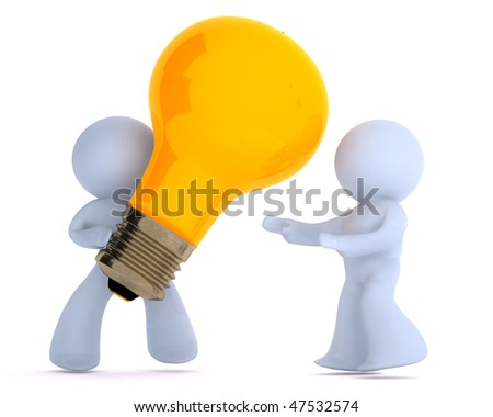Handing over the bright idea - stock photo