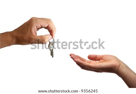 Handing over the keys. Isolated on white background.
