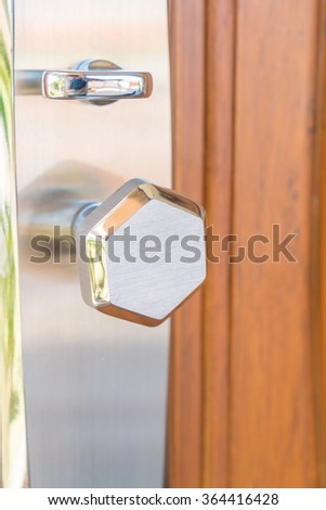 handle and lock detail on door