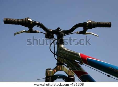 Handle bars of a mountain bike - stock photo