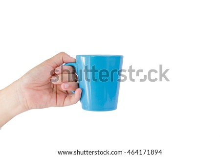 Handle Blue Coffee Mug isolated On a white background