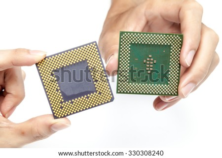 Handle CPU on white background - stock photo