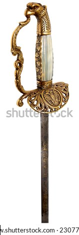 Handle of an old sword on a white background