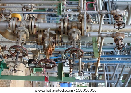 Handle valve with pipe line in chemical plant