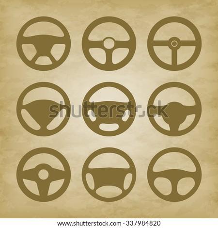 handlebars automotive icons - illustration. Set icons. Steering wheel isolated. - stock photo