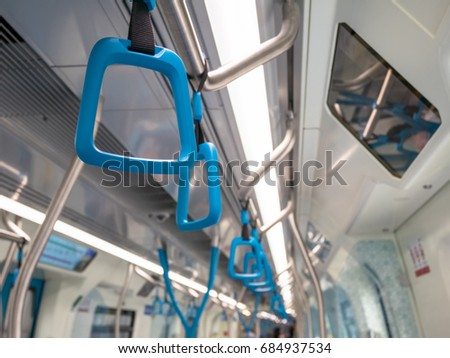 Handles on the MRT Malaysia for standing passenger.