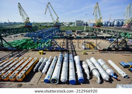 Handling operations at the Ukrainian port - stock photo