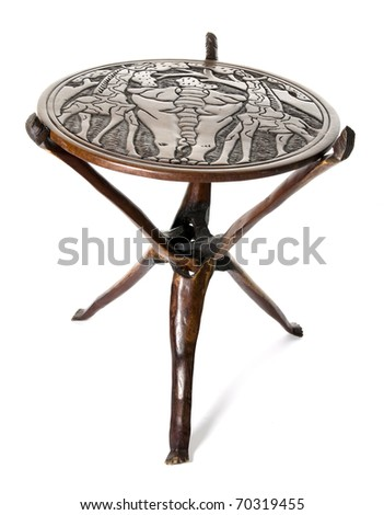 handmade african round table of rosewood - stock photo