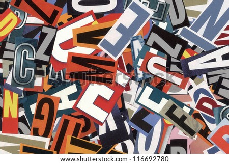 handmade alphabet collage of magazine letters