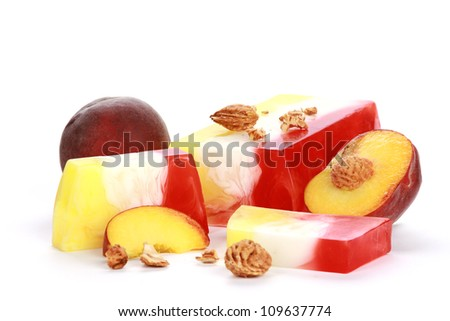 Handmade apricot Soap closeup.Spa products - stock photo