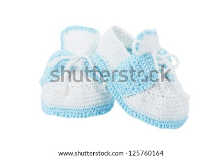 Handmade blue baby booties